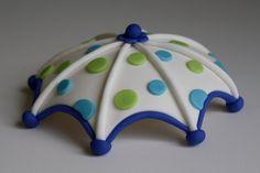 Fondant Umbrella Cake, Cupcake Topper.