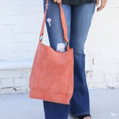 Punchy s Suede Terracotta Wide Leather Strap Bucket Bag Bucket Bag b9a66fd85f605