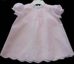 Stunning Vintage Pink Batiste Alfred Leon Baby dress and matching Slip  #99