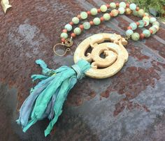 Aquamarine and scented wood beads Dragon jade and Silk Sari Ribbon Tassel necklace