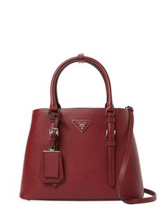 Double Small Saffiano Leather Tote by Prada at Gilt