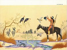 Vintage Native American Indian Art Illustration  by zippitydoodle,
