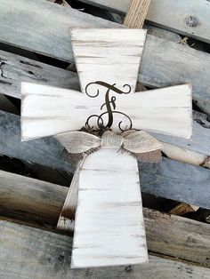 Monogram Wooden Distressed Cross by MagnoliaMarket on Etsy, $50.00