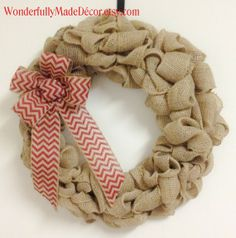 Burlap Wreath with Red Chevron Bow . Spring Burlap Wreath . Rustic Spring Wreath . Burlap Wreath for the Front Door . Holiday Wreath