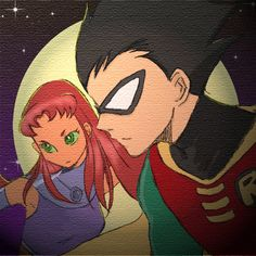 Robin x Starfire Robin, Nightwing And Starfire, Original Teen Titans, Teen Titans Go, Animation Series, Marvel Dc, Dc Comics, Concept Art, Fan Art