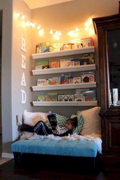 20 Fantastic Kids Playroom Design Ideas – Modern Home Reading Nook Kids, Cozy Reading Corners, Children Reading, Reading Areas, Happy Children, Cozy Corner, Kids Corner, Playroom Design, Playroom Ideas