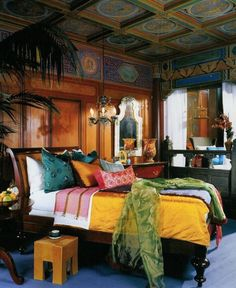 Bohemian bedroom - I love these colors!