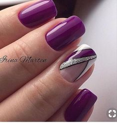 Sweet purple gel nails with some glitter - nails Purple Gel Nails, Purple Nail Art, Fancy Nails, Trendy Nails, Cute Nails, Glitter French Manicure, Glitter Nails, Hair And Nails, My Nails