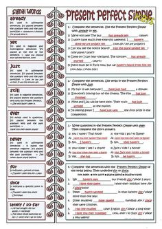 SIGNAL WORDS FOR PRESENT PERFECT