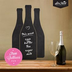 Chalkboard Wine Bottles Wall Decal  Kitchen by SirFaceGraphics, £14.30