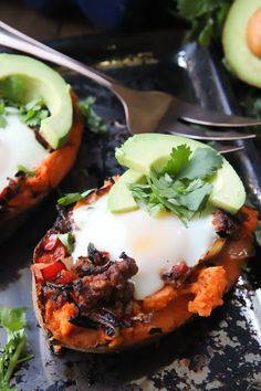 Mexican Sweet Potato Egg Boats - the perfect Paleo breakfast! | wickedspatula.com