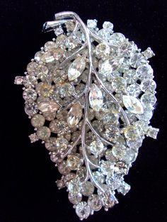 Clear Rhinestone Leaf VENDOME brooch 2 Layers by RenaissanceFair