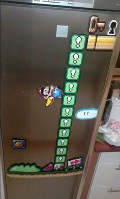 Fridge magnet- diorama from Super Mario World, a 16-bit bead sprite set