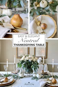 An easy and elegant table setting that's perfect for Thanksgiving or any fall gathering ---> #maisondecinq falltable thanksgivingtable thanksgivingtablescape falltablescape fallentertaining neutralfall falldecor thanksgivingdecor