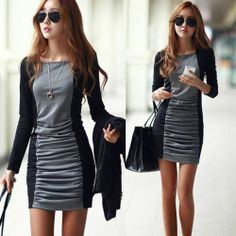 Sexy Color Blocking Bodycon Package Hip Womens Ruched Mini Dress Two Tone Casual