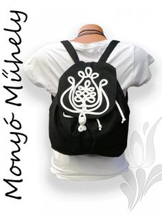 Zsinórozott női hátizsák Fekete