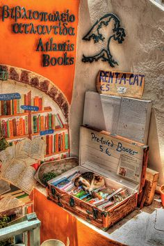 Cat Nap in Atlantis Bookshop, Oia, Santorini, Greece Santorini Island Greece, Oia Santorini, Reading Buddies, Literary Travel, Greek Isles, Animals Of The World, Greece Travel, Beautiful Islands, Atlantis