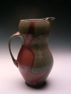 """""""Pitcher,"""" wood-fired stoneware, by Matt Schiemann, was selected by juror Linda Christianson as Best in Show in """"Tabletop. Ceramic Pitcher, Ceramic Art, Pottery Designs, Handmade Pottery, Artist At Work, Exhibit, Tabletop, Stoneware, Pots"""