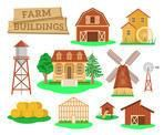 Farm buildings and constructions flat infographic vector elements set. Icons of farmer house, barn, windmill, watermill, greenhouse, tower etc. Agriculture industry and countryside life objects