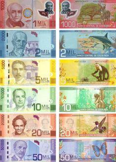 Papel Moneda Primeros Grados Monedas Paz Escuela Paisajes Costa Rica