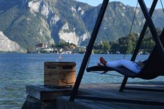 Pelmondo Firecube am Traunsee mit Blick auf Traunkirchen Kirchen, Outdoor Furniture, Outdoor Decor, Austria, Hammock, Switzerland, Modern, History, Home Decor