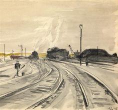 Artworks of Aleksandr Deyneka (Russian, 1899 - 1969) Train Art, Fine Art Auctions, Russian Art, City Buildings, Art Themes, Watercolor, Landscape, Gallery, Drawings