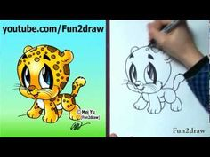 How to Draw Cartoon Characters - How to Draw a Baby Jaguar