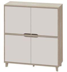 Mobilier - Salons et Séjours - Buffets - Rangement 4 portes SCANDINAVIA imitation chêne/blanc