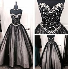 Long Evening Prom Gowns,Black White Tulle Prom Dress,Ball Gown Dress , Sweetheart Beaded Bodice Quinceanera Dresses For Teens Juniors Dress,Prom Graduation Dresses