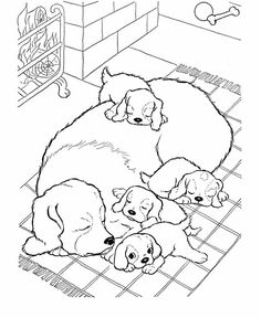 dog coloring pages mother dog with her puppies coloring page featuring hundreds of canine breed coloring pages - Coloring Pages Dogs Horses