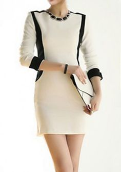 White Round Neck Long Sleeve Cotton Blend Dress Flattering lines - the black helps you look slimmer vertically. But a bit short for work environment.