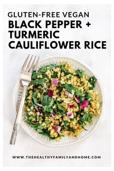 This Gluten-Free Vegan Black Pepper and Turmeric Cauliflower Rice recipe is so easy to make with only 7 clean, real food ingredients and it's a one-pot dish that's ready in about 5 minutes! Healthy Crockpot Recipes, Healthy Eating Recipes, Vegetarian Recipes, Healthy Food, Turmeric Cauliflower, Cauliflower Rice, Coliflower Recipes, Cleanse Recipes, Vegetable Recipes
