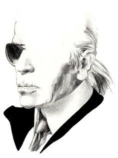 Karl Lagerfeld by Mitja Bokun. Illustration.Files: Karl Lagerfeld & Vivienne Westwood Portraits by Mitja Bokun | Draw A Dot.