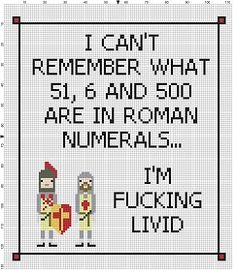 I can't remember my roman numerals - Funny latin Subversive Modern Roman Cross Stitch Pattern - Instant Download by SnarkyArtCompany on Etsy