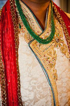 Love the gold embroidery on this sherwani | Sona Photography - Florida Hindu Indian Wedding