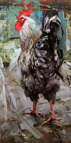 Bird Painting Acrylic, Rooster Painting, Rooster Art, Chicken Painting, Chicken Art, Clown Paintings, Animal Paintings, Bird Artwork, Animal Sketches