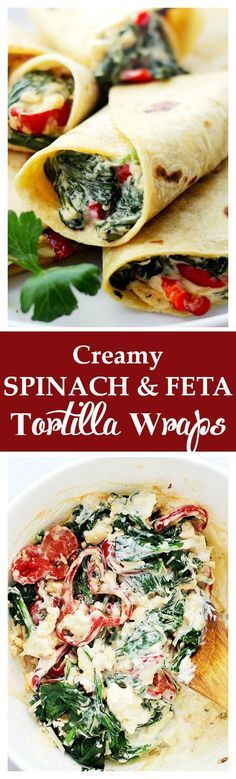 awesome Creamy Spinach and Feta Cheese Tortilla Wraps