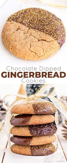 These Chocolate Dipped Gingerbread Cookies are the perfect treat for the holiday season! Chewy ginger spiced cookies dipped in dark chocolate. Chocolate Marshmallow Cookies, Chocolate Chip Shortbread Cookies, Almond Cookies, Chewy Gingerbread Cookies, Gluten Free Gingerbread, Gingerbread Houses, Ginger Bread Cookies Recipe, Yummy Cookies, Keto Cookies