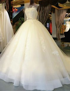Ball Gown Scoop Neck Chapel Train Lace Over Tulle Made-To-Measure Wedding Dresses with Beading / Appliques by LAN TING Express / See-Through / Beautiful Back