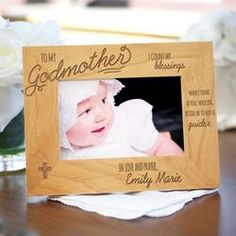 Personalized Engraved Godparent Wood Picture Frame
