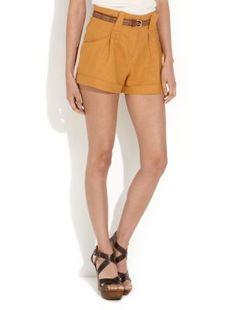 Mustard Belted Linen Shorts