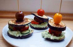 Aubergine burgers med falafler