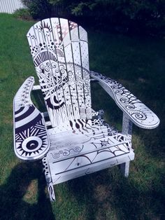 Doodle patterned Adirondack chair ~Zentangle - More doodle ideas - Zentangle - doodle - doodling - zentangle patterns. zentangle inspired - #zentangle #doodling #zentanglepatterns   Sharpie by Sally Towers-Sybblis