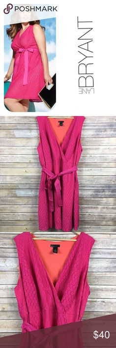 Lane Bryant Fit & Flare Pink Eyelet Floral Lace 26 Lane Bryant makes this dress in a size 14. The orange lining is polyester and the bright pink overlay is a cotton/nylon blend.   Cross over v-neckline with a detachable sash belt. Side zipper. Excellent condition. Lane Bryant Dresses Mini
