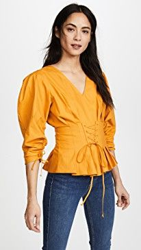 New Sea 3/4 Sleeve Lace Up Blouse online. Find great deals on Theia Clothing from top store. Sku slzf90383perg98952