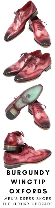 Mens dress shoe in burgundy wingtip Oxford by Paul Parkman. Luxury mens handmade dress shoes, formal shoes, business shoes for any occasion. These shoes come in multiple sizes. They are hand-painted with care by expert shoemakers. #mensdressshoes #dressshoes #shoes #mensfashion #socks #laces #handmade #bestshoes #luxuryshoes #businessshoes #formalshoes