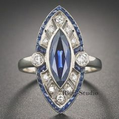 Details about Art Deco Marquise Blue Sapphire Diamond Engagement Wedding Ring Sterling Silver  #about #details #diamond #engagement #marquise #sapphire #wedding