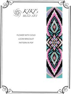 Bead loom pattern - Flower with gold LOOM bracelet pattern in PDF instant… Loom Bracelet Patterns, Bead Loom Bracelets, Seed Bead Patterns, Weaving Patterns, Jewelry Patterns, Flower Patterns, Pattern Flower, Pandora Bracelets, Bead Loom Designs