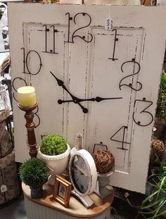 55 kreative Ideen für tolles modernes Wanduhr Design wall-clock-wood-diy-of-a-old-door-digit-of-metal-black-pointer-vintage Repurposed Furniture, Diy Furniture, Repurposed Doors, Small Furniture, Refinished Furniture, Furniture Dolly, Furniture Stores, Office Furniture, Outdoor Furniture