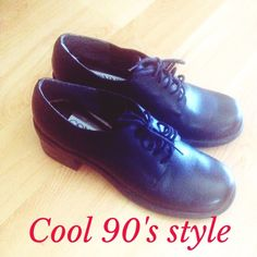 "90's Style Black Lace Up Loafers Channel cool 90's/Alexa Chung style with these lace-ups! These are vintage and in amazing condition! Says ""made in Brazil"" inside. Wear these with a cool high-waisted skirt, skinny jeans or just about anything! I'm also selling a cute mini black backpack that would match  Connie Shoes Flats & Loafers"